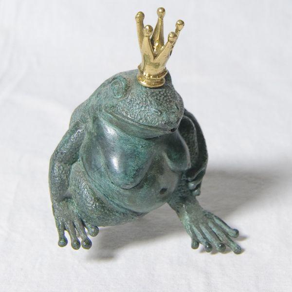 Bronze Wasserspeier Frosch mit Krone